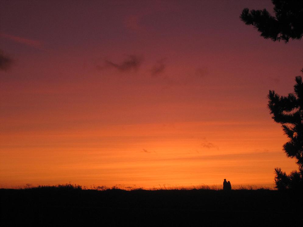 Blick aus Ferienwohnung am Strand Sonnenuntergang
